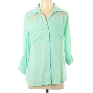 Attention Tab Sleeve Mint Green button down blouse